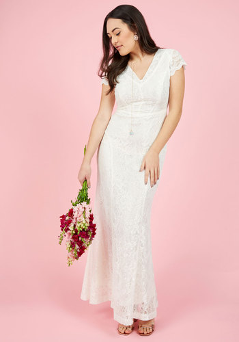 Grand Staircase Entry Maxi Dress in Ivory - Solid, Wedding, Bride, Maxi, Spring, Woven, Lace, Best, V Neck, Cream, Long, Lace, Special Occasion, Prom, Vintage Inspired, 20s, 30s, Luxe, Fairytale, Bodycon / Bandage, Fit & Flare, Cap Sleeves, Summer, Fall, Winter, Exclusives