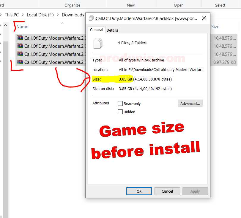 CODMW 2 Game setup size before install