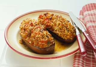 Eggplant with Tomato and Rice Filling