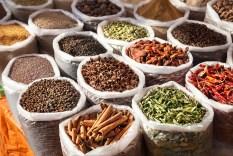 Indian spices in Anjuna flea market, Goa, India
