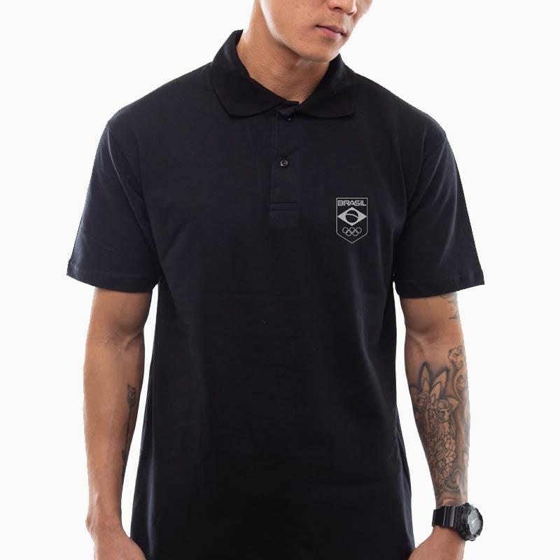 Camisa-Polo-Preta--Unisex---Logo-Time-Brasil