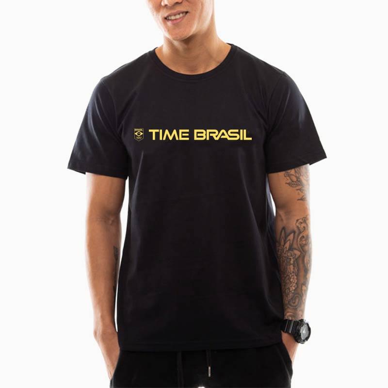 Camiseta---Unisex--Preta---100%-Algodão---Silk-Lettering-Time-Brasil-Amarelo