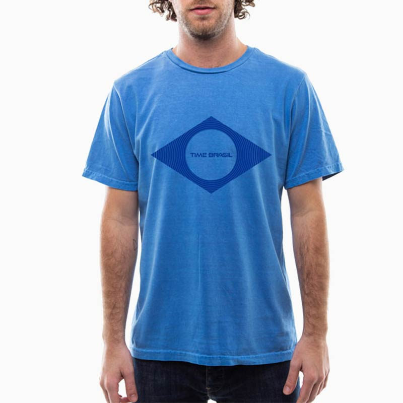 Camiseta Unisex Estonada Azul 100% algodão - Silk Bandeira Azul