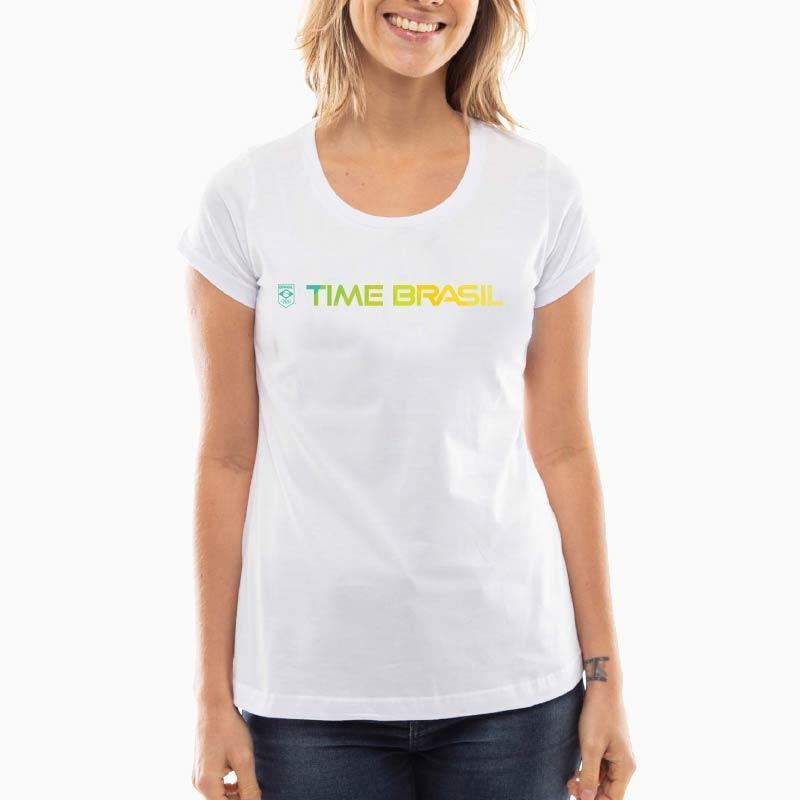 Camiseta-Feminina-Long-Branca---100%-Algodão---Time-Brasil-Amarelo