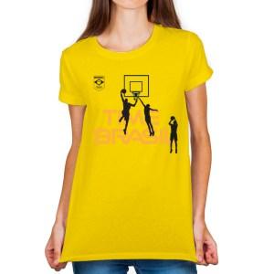 Camiseta feminina amarela- 100% Algodão - Basquete 3x3