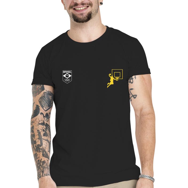 Camiseta Unissex Preta - 100% Algodão - Basquete -verde