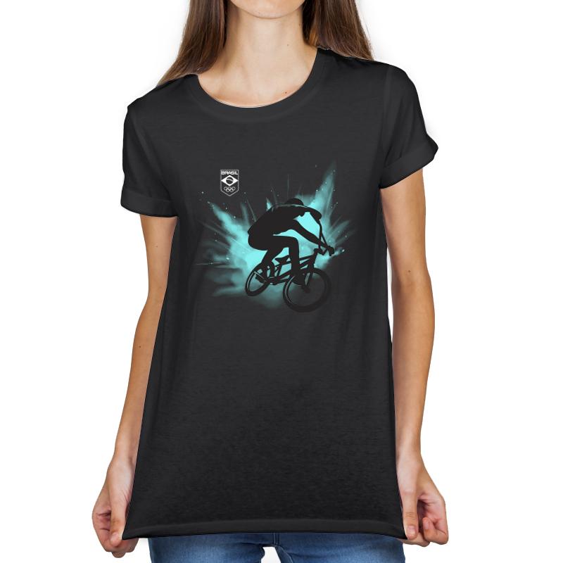 Camiseta Feminina Long Preta - 100% Algodão - Ciclismo BMX Freestyle