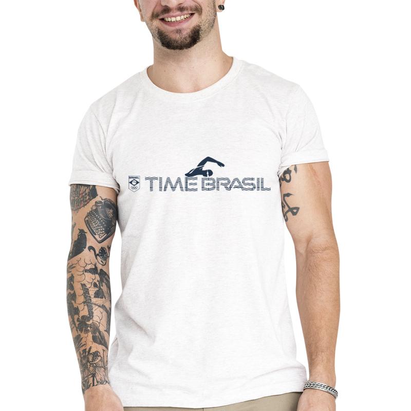 Camiseta Unissex Branca - 100% Algodão - Maratona Aquática