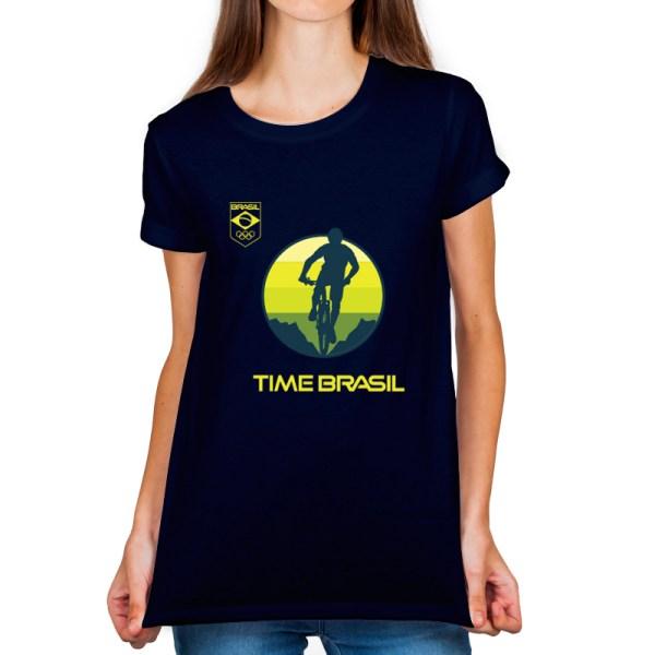 Camiseta Feminina Long Azul Marinho - 100% Algodão - Ciclismo Mountain Bike