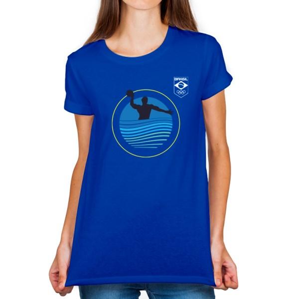 Camiseta feminina Azul - 100% Algodão - Polo Aquático