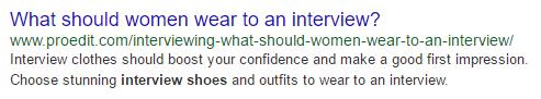 Content Development SEO Example - Meta Description in Google Search Results