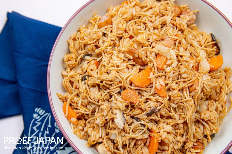 Proef Japan foto van ons recept voor Japanse gebakken rijst met noedels (sobameshi)