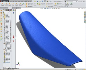 Yamaha YZ450 Saddle created for the Design-engine Solidworks Surfacing class