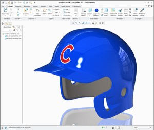 Chicago Cubs batting helmet created using Creo Surfacing