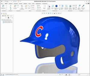 Chicago Cubs batting helmet created using Creo Surfacing