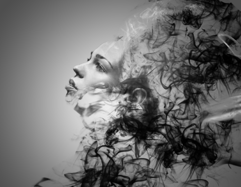 A lady made out of smoke