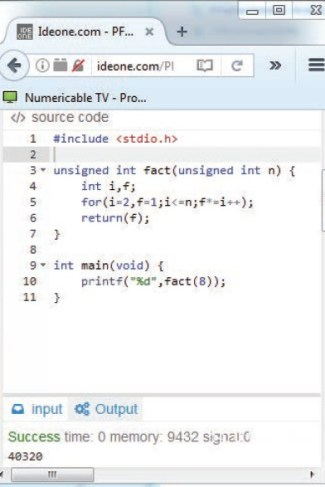 PHOTO 2: At Ideone.com, you can enter, compile, and simulate numerous programming languages. Here you see C language.