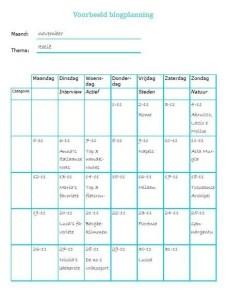 Blogplanning - voorbeeld