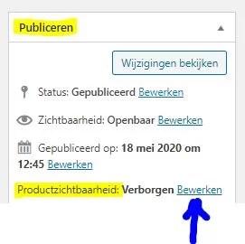 Product verbergen in wordpress - stap 1