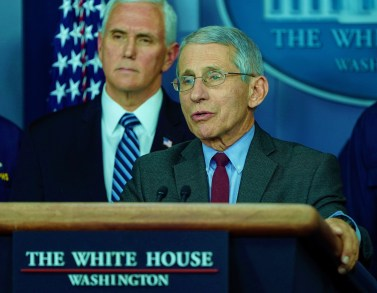 Director of the National Institute of Allergy and Infectious Diseases Anthony Fauci speaks during a news briefing on the administration's response to the coronavirus at the White House in Washington