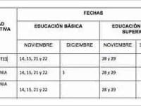 Calendario para el examen de conocimientos y habilidades didácticas a maestros