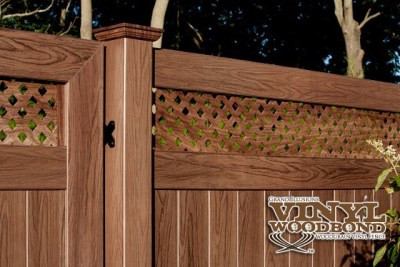 V3215DS is a Tongue and Groove privacy panel with a small diagonal lattice top. There are 3 different versions of these wood grain lattice topped panels - V3215D which features a standard diagonal lattice top, V3215SQ with a Square lattice top and the V3215DS (shown here) has the small diagonal lattice at the top.