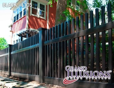 Illusions Classic Victorian straight top picket fence style V700 in Grand illusions black L105