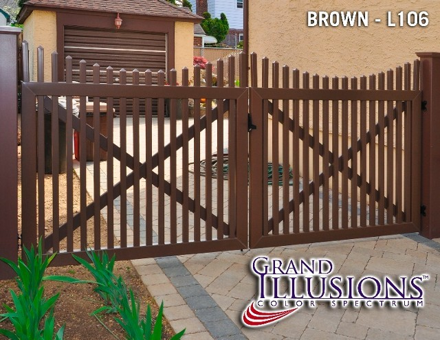 brown vinyl picket fence. VDG707 - Scalloped Classic Victorian Vinyl Picket Fence In Grand Illusions Brown L106. L