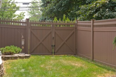 VWG 3700 Classic Victorian picket straight top vinyl fence gates set as a double drive in L106 Brown by Grand Illusions.