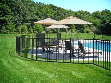 Eastern Ornamental Aluminum Style EO40V two rail BOCA Pool Code Complaint Pool fence