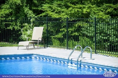 Eastern Ornamental Aluminum Style 54202 in black. 54 inch BOCA pool code compliant fence is also available in Bronze