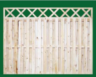 Eastern White Cedar Board On Board Fence with a closed top shown here with a Criss Cross topper and is available in 4, 5, 6 and 8 foot heights
