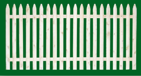 Eastern White Cedar spaced picket fence has a rounded face picket and is only available with Spruce back rails and in four foot height.