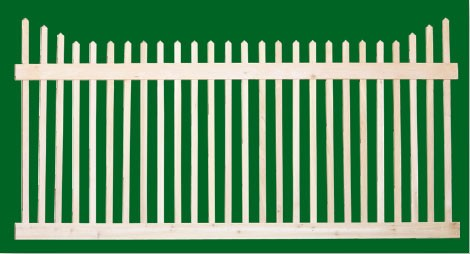 Classic Victorian Cedar picket fence panel with two rails and pickets that step down from the ends.