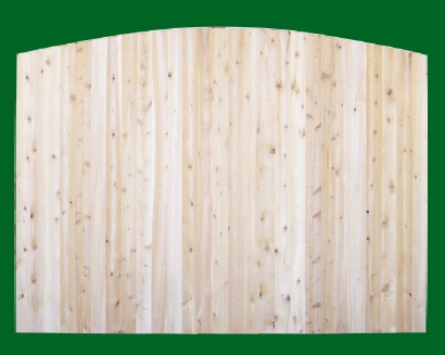 Eastern White Cedar Solid Shaped Privacy Fence panel - Convex - with pickets cut to the convex.