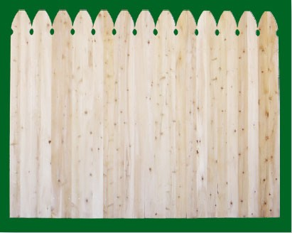 Eastern White Cedar with Gothic style pickets top. NOTE: These pickets are actually two pieces of 1x4 that are not joined together - this panel should be used where the grade is flat or in a 'stepped' installation!