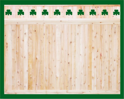 Eastern White Cedar one piece T&G Cedar privacy panels with shamrock cut outs in the topper. Topper is an add on and is attached on site