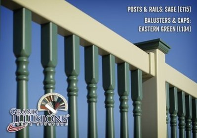 Seen here is a 2x3.5 inch top rail with Colonial balusters. Grand Illusions Vinyl Deck Railing offers un matched flexibility in design.