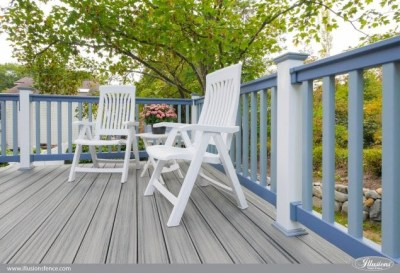 An investment in quality! Patio White posts and 2 shades of Grand illusions blue blend so well with the synthetic decking material for beautiful installation that will enjoy a nice long life.