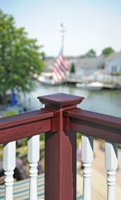 Vinyl deck railings offer the perfect no maintenance solution for decks near salt water. Any of the Grand Illusions colors can be matched with your choice of any wood grain finish for a look that's sure to be exclusive to your home.