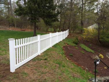 Illusions vinyl fence Contemporary spaced picket in with straight top.