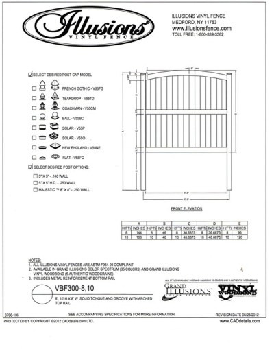 This is Illusions Vinyl Fence style VBF 300. A T&G privacy panel with a crowned top rail. The mid rail is standard on heights over 6 feet.