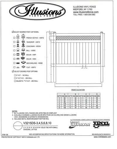 Illusions Vinyl Fence style V3215DS a T&G privacy panel with small diagonal lattice top. This panel is available in all heights, colors and wood grain finishes and you can order matching gates of all widths up to 6 feet for a single leaf and 12 for a double gate.