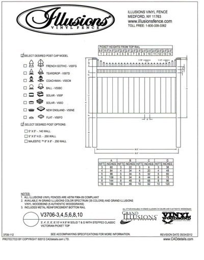 Illusions Vinyl Fence style V3706.  This T&G privacy panel has a Stepped Victorian picket top. It can be ordered with matching gates in all heights, colors and amazing wood grain finishes. All heights are available in the Classic Series colors of  White, Beige and Gray.