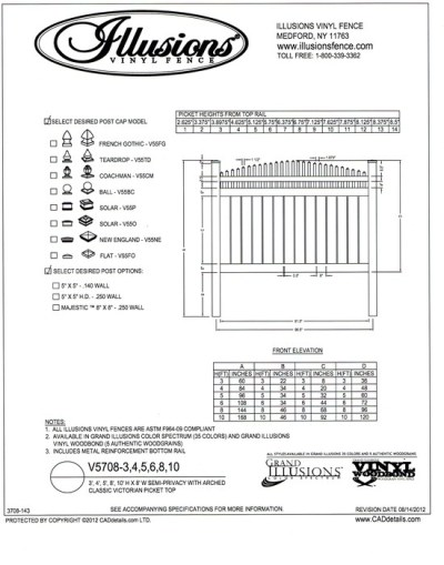 V5708 Style by Illusions Vinyl Fence features a crowned Victorian picket top with 6 inch boards that are spaced 1/2 inch apart. As with all of the other Illusions vinyl products, it can be ordered in the Classic, Grand Illusions Color Spectrum or WoodBond wood grain series.