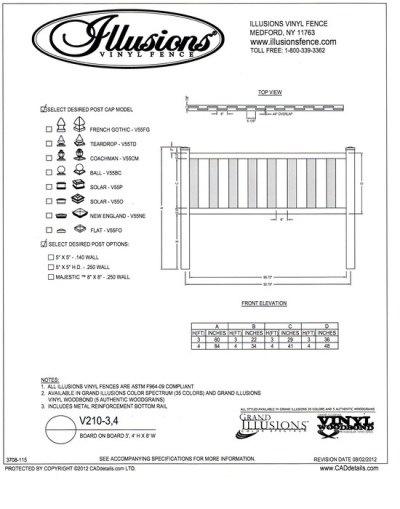 Illusions Vinyl Fence 3 and 4 foot straight top Board on Board panes are sold in any of the Clasic, Grand Illusions or WoodBond wood grain finishes.
