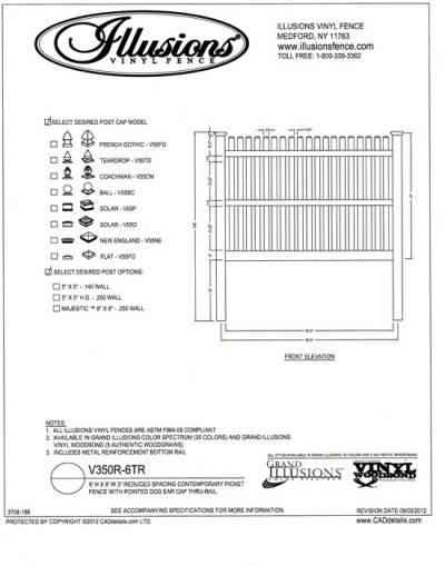 A reduced spacing contemporary picket with straight top and dog eared cap on the 7/8x3 inch picket.  Offered by Ilusions vinyl fence, it can be ordered in any of their wide selection of colors.