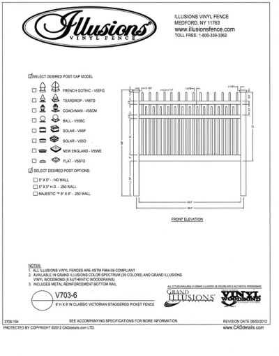 This six foot tall panel offers three rails with alternating Classic Victorian pickets above the top rail and between the mid and top rail. Add any Illusions color for a very pretty fence!