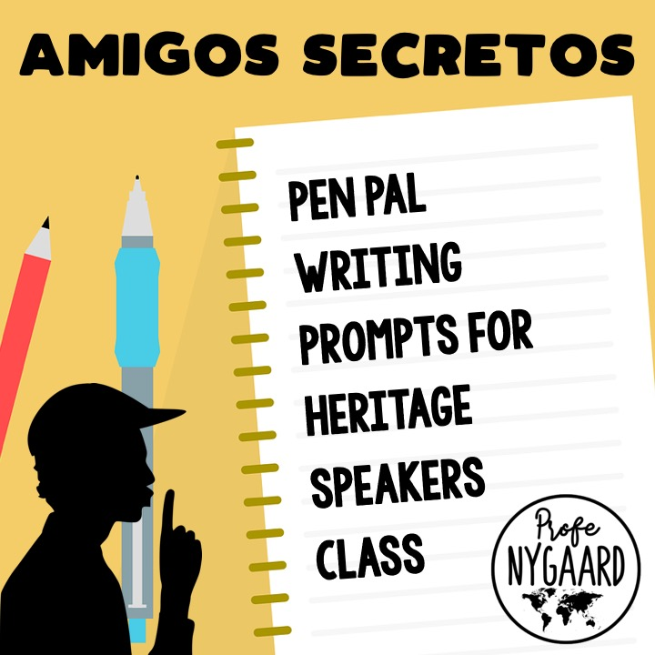 secret pen pal writing prompts for heritage speakers class