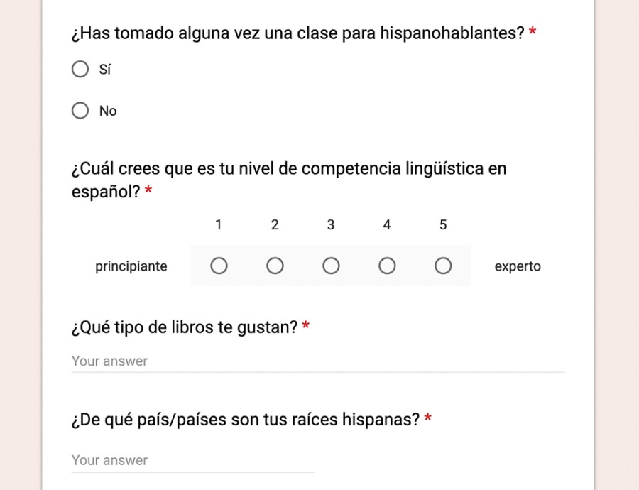 get-to-know-you survey spanish google form